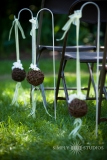 Rustic Aisle decor - Twig Balls with accent ribbon in your wedding colors look great with a few fresh orchids..