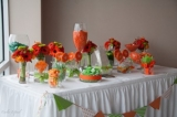 Tango Tangerine Candy Buffet - why not add the bouquets to your candy buffet for accent decor.